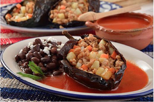 chile ancho relleno de soya