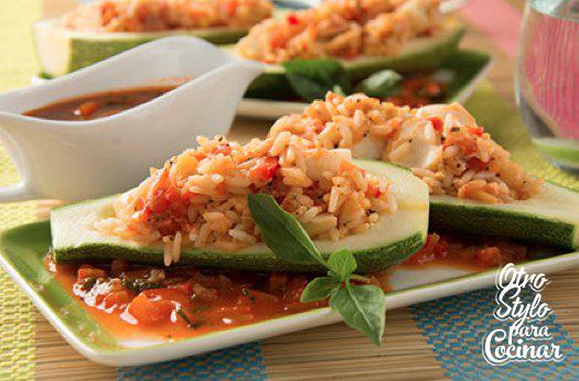 Calabacitas rellenas de arroz